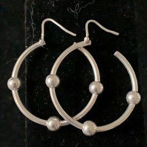 Silvertone ball hoop earrings great used condition